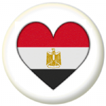 Egypt Country Flag Heart 25mm Pin Button Badge